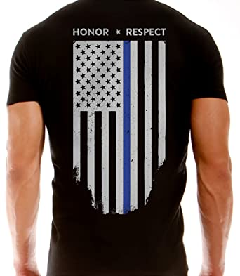 aadcce969 Thin Blue Line American Flag T-Shirt - Vertical Flag - Black (Small)