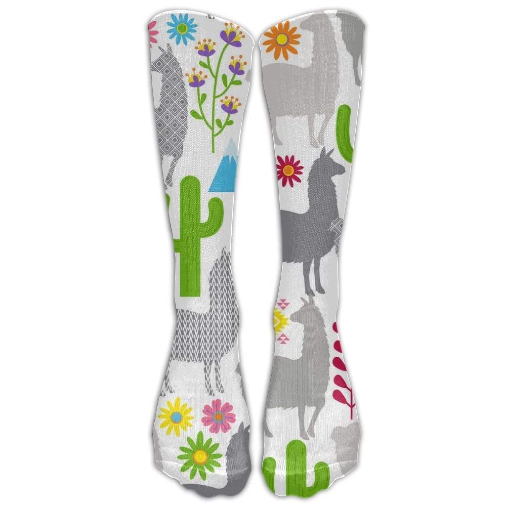 Unisex Art Llama Cactus Flower Knee High Long Socks Athletic Sports Tube Stockings For Running,Football,Soccer