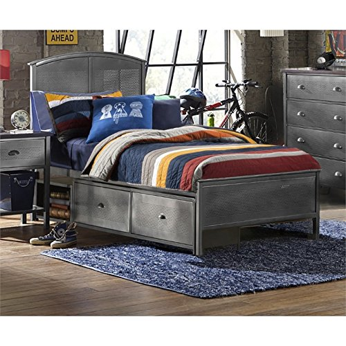 Hillsdale Furniture 1265BFRPS Urban Quarters Panel Storage Bed with Rails Full Black Steel