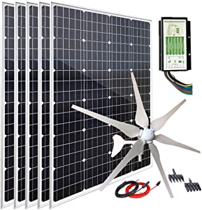 1000W 12V Wind Turbine Generator Solar Panel Kit : 400W Windmill & 5pcs 120W Mono Solar Panel & Hybrid Charge Controller for Home RV Camping Boat Cabin Off Grid System