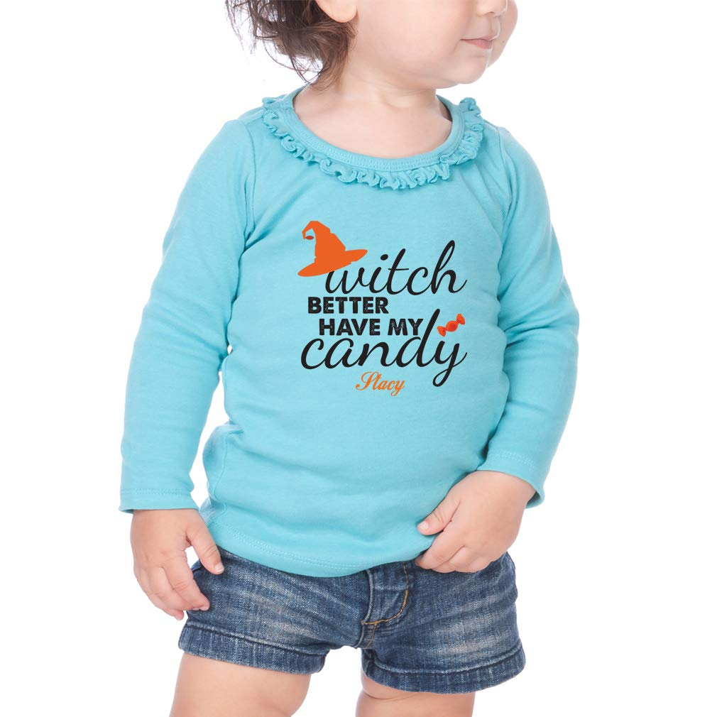 Custom Have My Candy Cotton Girl Toddler Long Sleeve Ruffle Shirt Top