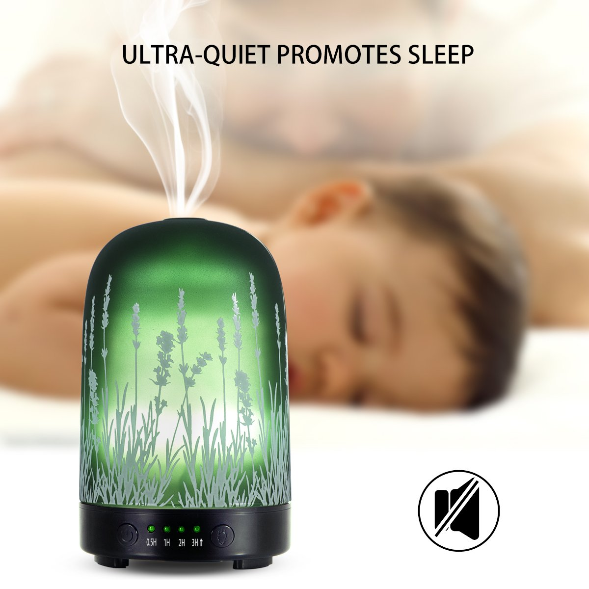 Aromatherapy Essential Oil Diffuser 100ml Glass Fragrance Lavender Cold Mist Humidifier Waterless Automatic Shutdown 7 Colour LED Lights 4 Timed Settings For Home Office Yoga Spa ?- ¡ by PUSEAYZ (Image #6)