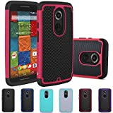 Moto X (2nd Gen) Case, LK [Shock Absorption] Hybrid Dual Layer Armor Defender Protective Case Cover for Motorola Moto X 2nd Generation (Hot Pink)