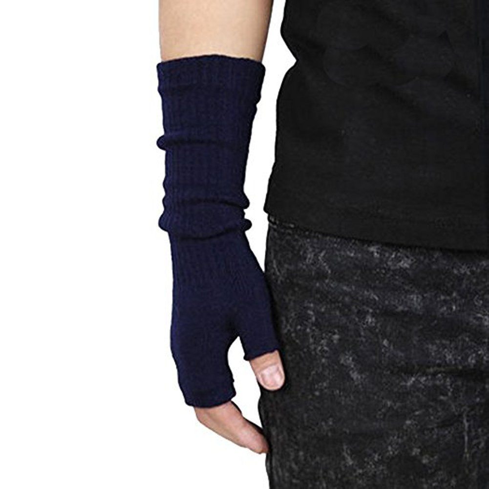Men's Winter Half-finger Warm Knitted Gloves for Online Typing, Office Work and etc (Navy) Z.X.P