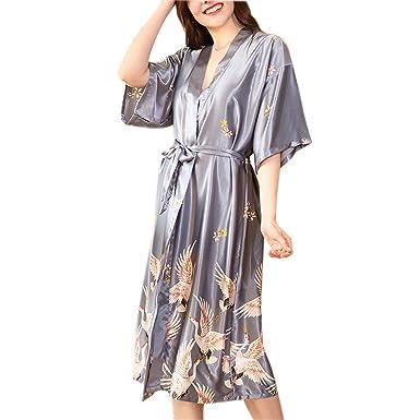 CX-Store Batas De Satén para Mujeres Ropa De Dormir Bata Kimono Bata Corona Roja con Dibujos Albornoz Estampado: Amazon.es: Ropa y accesorios