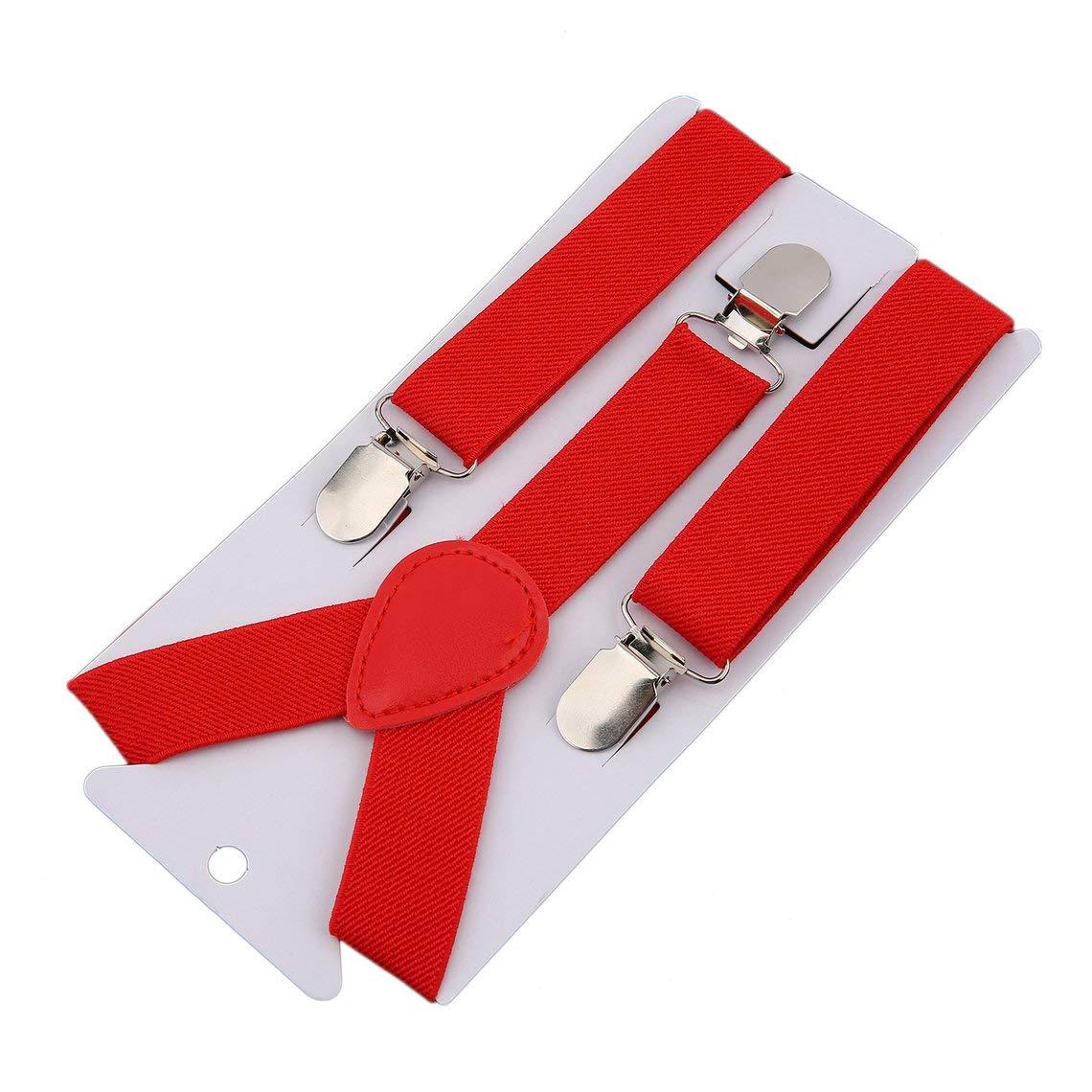 Zinniaya Ajustable y el/ástico con Clips de Metal Tirantes de poli/éster para ni/ños de dise/ño y corbat/ín de mo/ño Conjunto de Corbatas a Juego Trajes