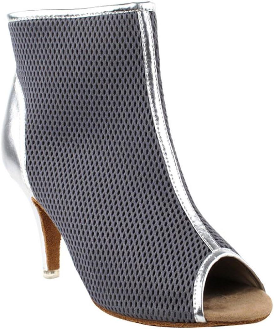 10, Grey /& Silver Very Fine Shoes Ladies Latin Rhythm /& Salsa Competitive Dancer Series CD3028 3 Heel
