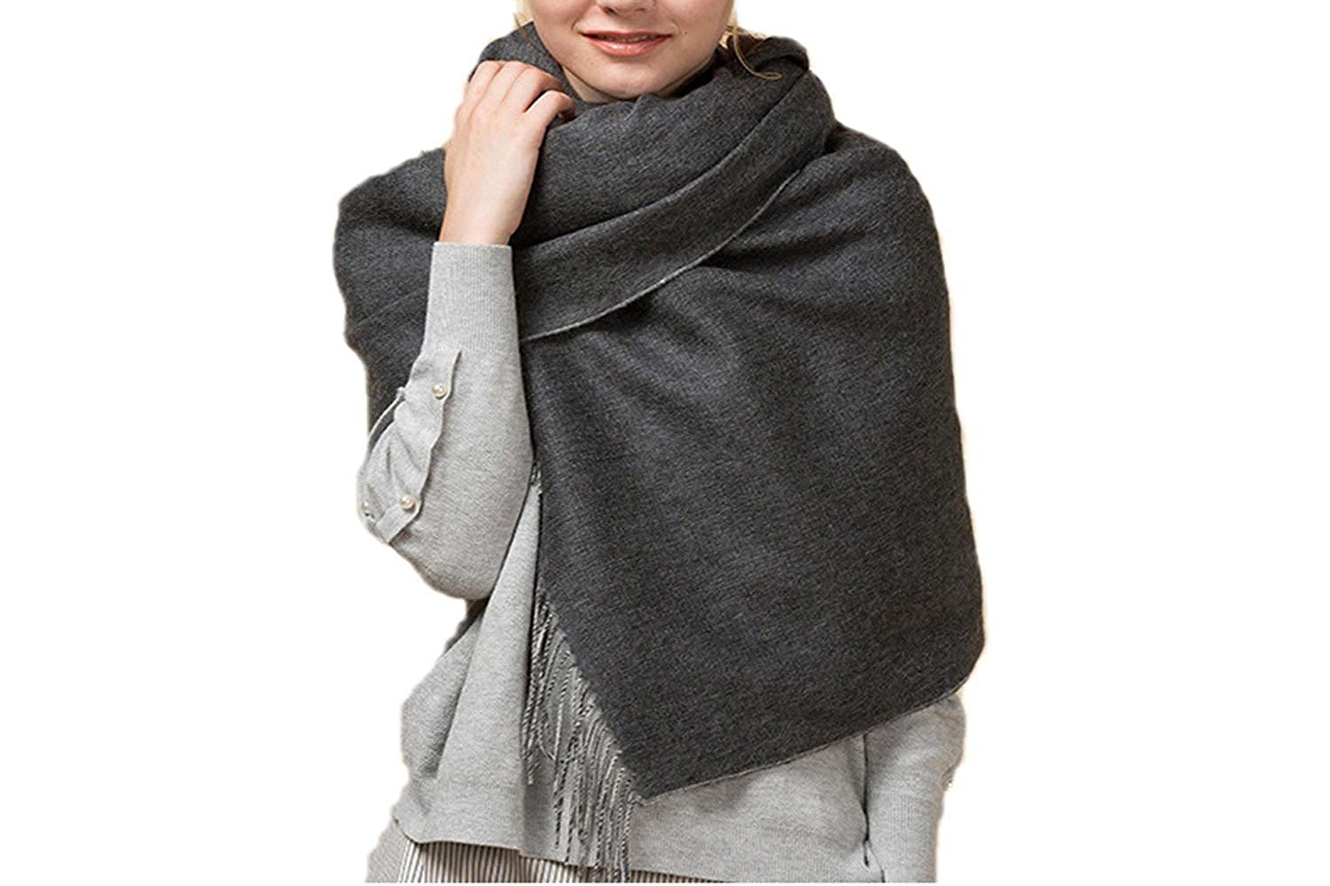 6bc8dc896 Wool Scarf Final Clear Out Oversized Wool Wrap Scarf Cashmere Feel Soft  Double Color Shawl(Gray) at Amazon Women's Clothing store:
