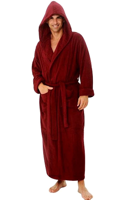 Burgundy Hooded Terry Bathrobe, Full Length 52 Inches, Unisex Design