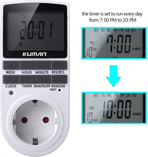 Digitale Wochenzeitschaltuhr GAOPAN Digital weekly Timer Switch Electronic Programmable LCD Timer Socket Switch with LCD Display 12//24 Hour 7 Days W45
