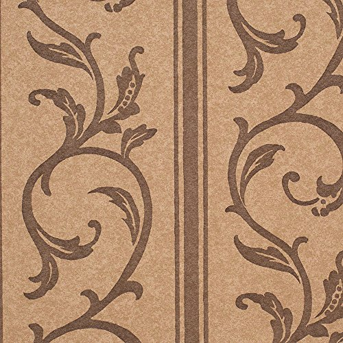 Chocolate Arcadia - Romosa Wallcoverings Traditional Arcadia Mocha Brown/Chocolate Brown Vine Accent Wallpaper Roll Decor