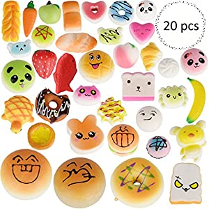 Squishies Slow Rising Squishy Toys 20pcs Random Jumbo Medium Mini Kawaii Squishies Panda, Buns & Cake Squishies, Phone Straps (20 pcs)