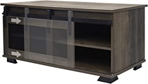 charaHOME Farmhouse Coffee Table with Sliding Mesh Barn Door,2-Tier Industrial Rustic Rectangular TV Stand for Living Room,Storage Cabinet Rustic Brown.