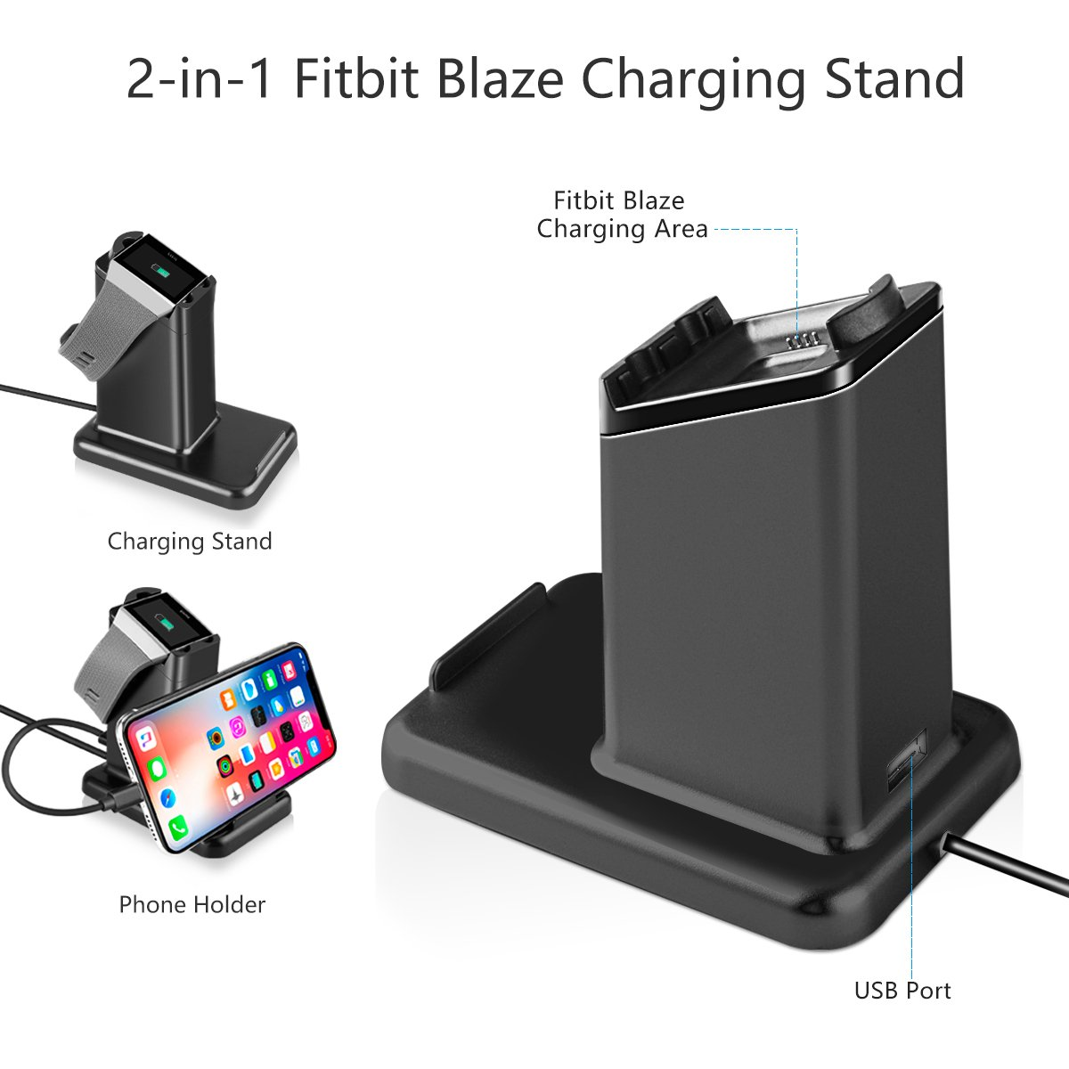 Fitbit Blaze Charger, MixMart Smart Watch Mobile Phone Tablet Charging Station for Fitbit Blaze and Universal Smart Phones and Tablets (Blk)