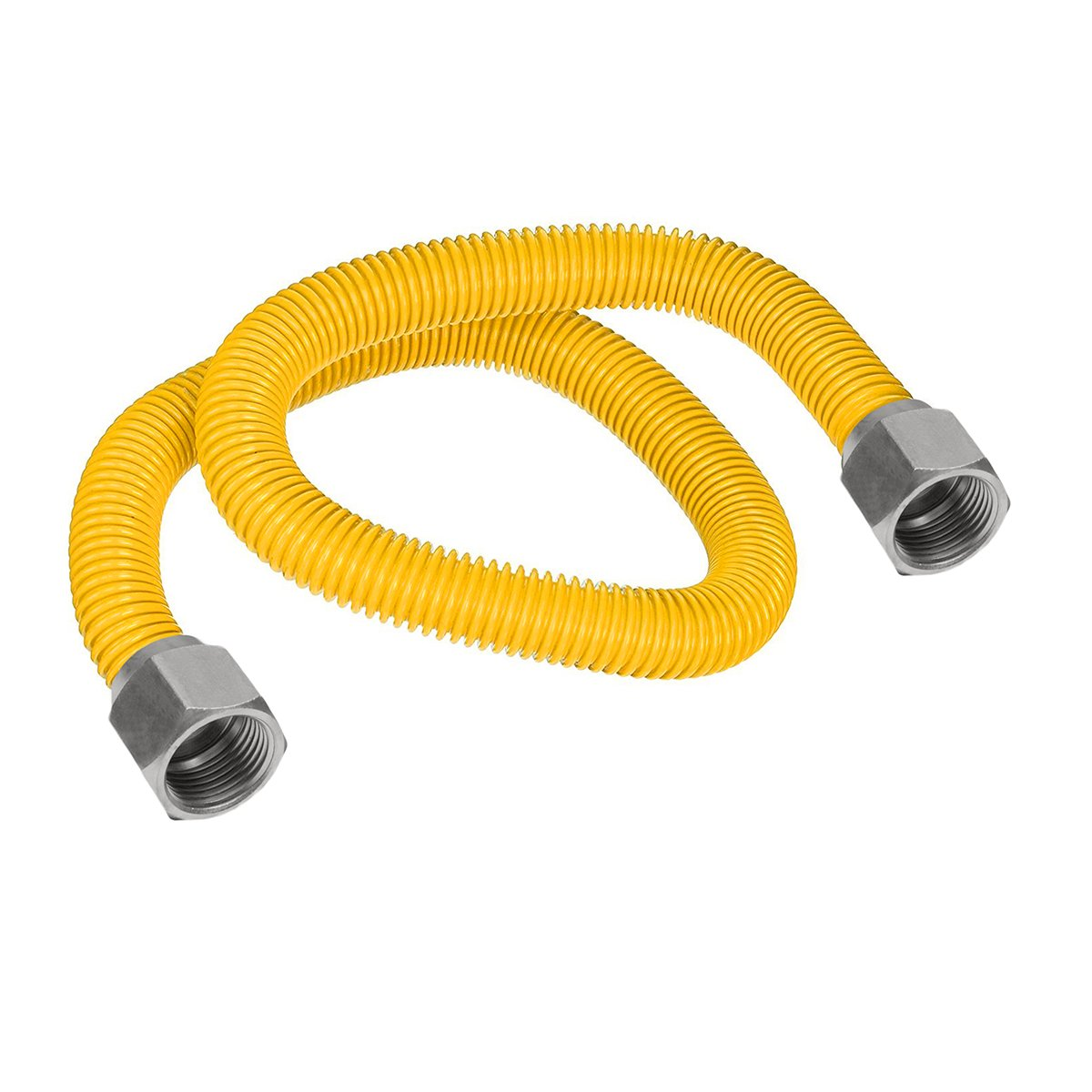Flextron FTGC-YC12-30 28'' Flexible Epoxy Coated Gas Line Connector with 5/8'' Outer Diameter and Nut Fittings, Yellow/Stainless Steel