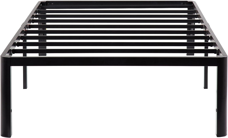 Olee Sleep 14 Inch Tall T-2000 Steel Slat Bed Frame Black, Twin Size