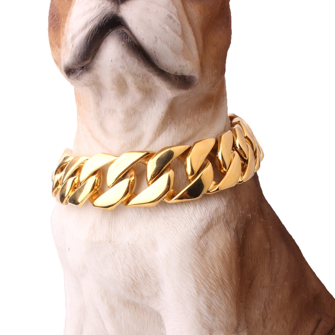 FANS JEWELRY Super Huge Gold Plated Trainning Collars 316L Stainless Steel Dog Choker Curb Cuban Chain Necklace(18inches,24mm) by FANS JEWELRY (Image #1)