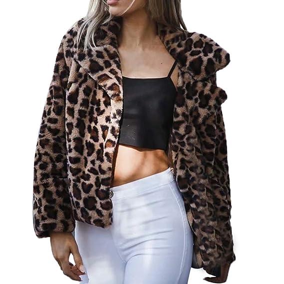 Yvelands Abrigos de Piel para Mujer, Piel Corta Estampado de Leopardo para Mujer Abrigo Grueso Ofertas de liquidación!: Amazon.es: Ropa y accesorios