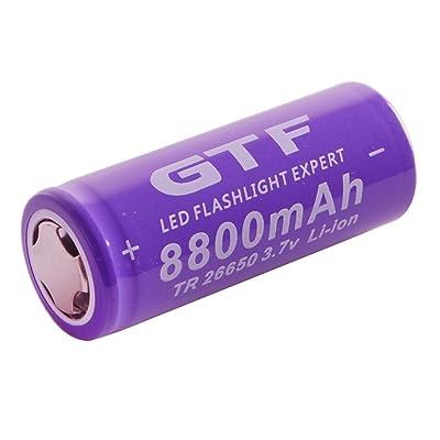 1 Pcs 3.7 V 26650 8800 mAh Li-ion Rechargeable Batterie pour LED Lampe de Poche Torche Pourpre