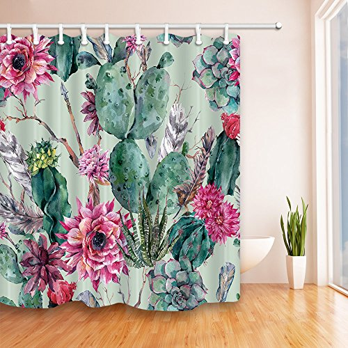 KOTOM Green Plants Cactus Flower 69X70 inches Mildew Resistant Polyester Fabric Shower Curtain Set Fantastic Decorations Bath Curtain (69X70, Multi 1) (Forest Green Flower Pattern)