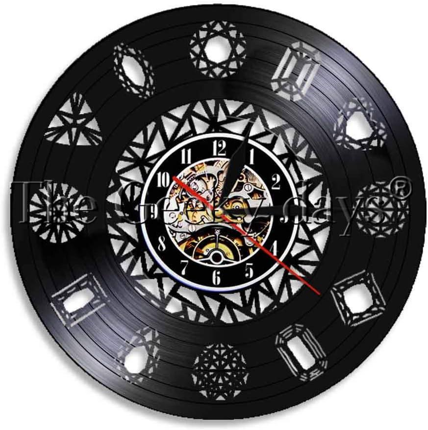 TIANZly Minimalista Diamante Pared Arte Hecho a Mano Disco de Vinilo Reloj de Pared Luminoso Reloj de Pared Anillo de Diamantes decoración Reloj de Pared