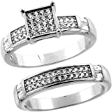 Sterling Silver Micro Pave Cubic Zirconia Square Ladies' Engagement 2-Piece Ring Set, 1/4 inch wide, sizes 5 to 10