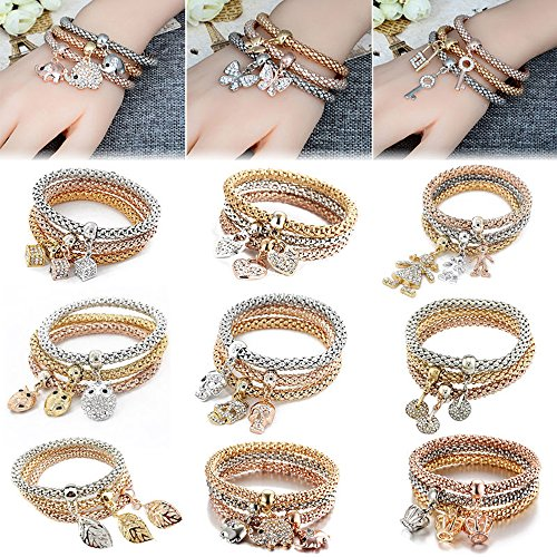 Wensltd Clearance! 3pcs Charm Women Bracelet Rose Gold Rhinestone Bangle Jewelry Set (A-1)