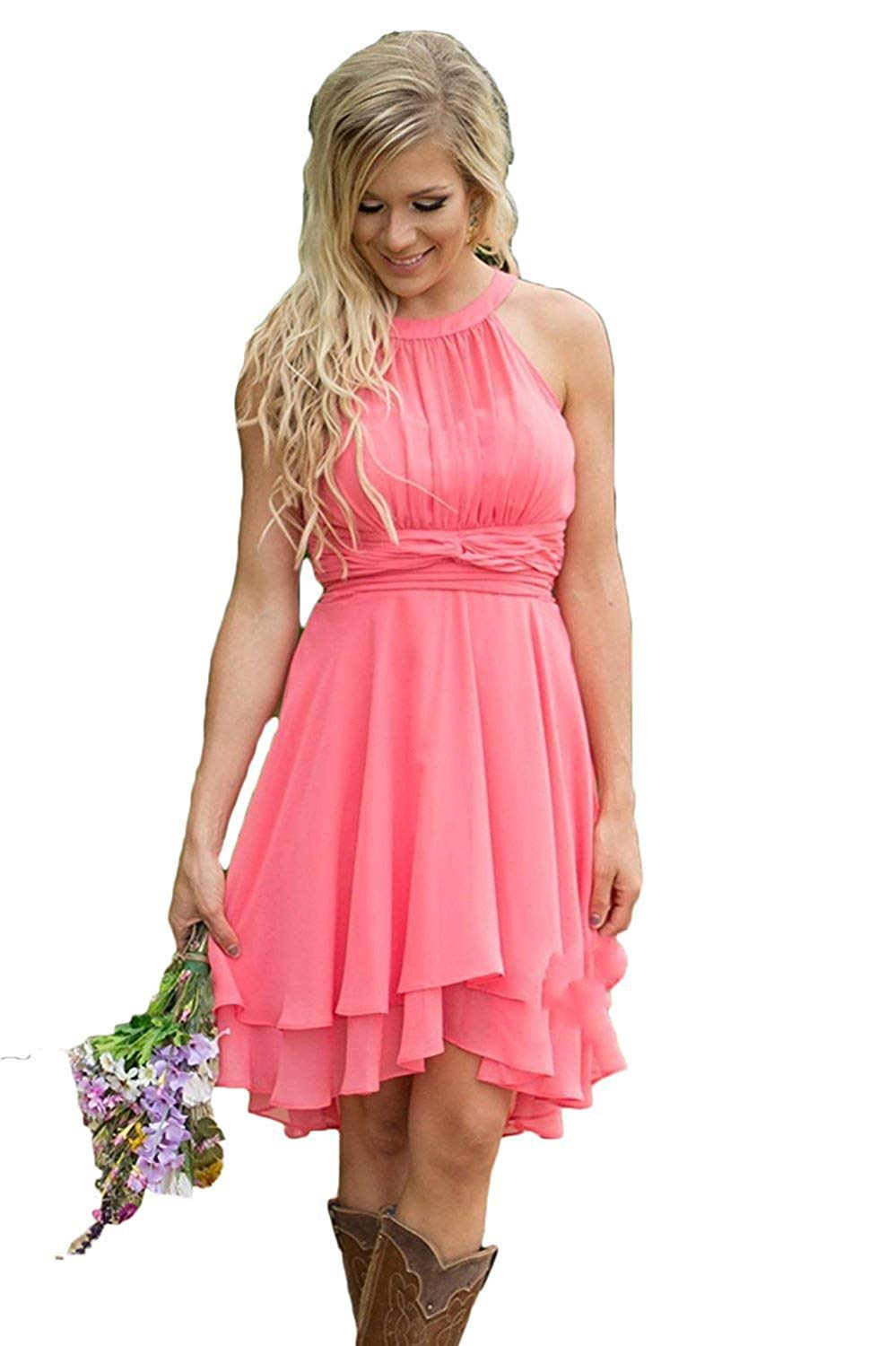 Erosebridal Short Bridesmaid Dresses Chiffon Halter Prom Dress Country Wedding Dress Coral 12