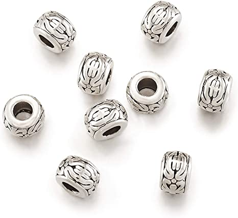 20pcs Tibetan Alloy Rondelle Metal Beads Carved Loose Spacers Beading 8x5.5mm