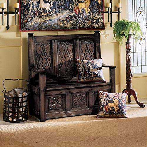Design Toscano Historic Monk's Storage Wood Entryway Bench