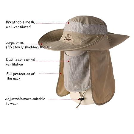 5bdd72975fb Amazon.com   BELIESAFE Wide Brim Fishing Sun Hat Summer Outdoor UV Sun  Protection Fishing Cap Neck Face Flap Hat for Man