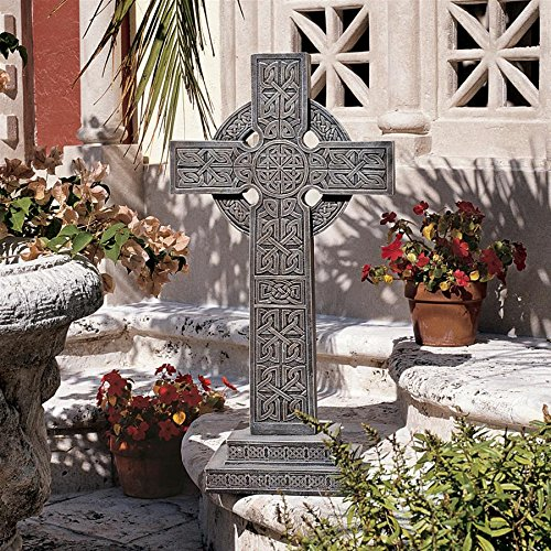 Design Toscano Bannockburn Celtic Cross Statue - Scottish Cross Statue - Memorial Statue -