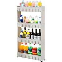 Pantry Storage Rack Multi-Purpose 4 Tier Slide Out Storage Tower with Wheels Mobile Shelving Unit for Kitchen Bathroom…