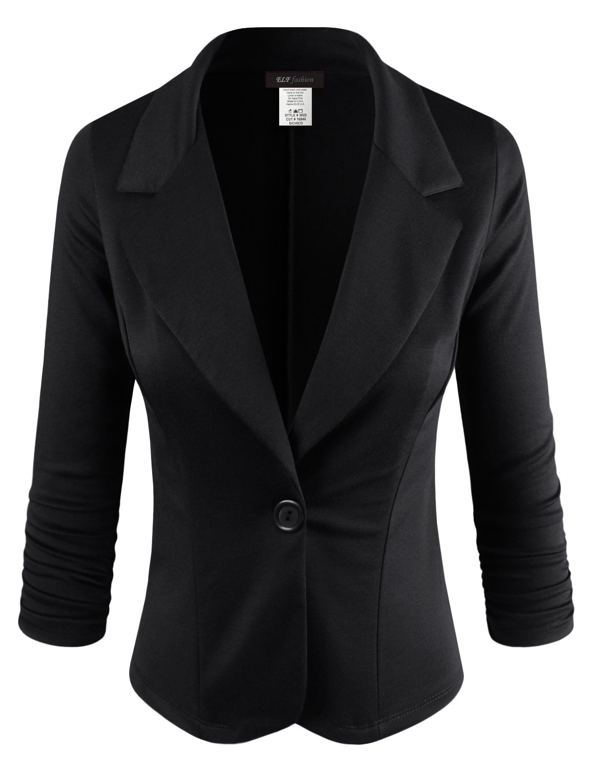 ELF FASHION Women Casual Work Knit Office Blazer Jacket Made in USA (Size S~3XL) Black M