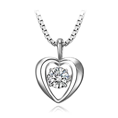 Amazon 925 sterling silver heart pendant necklace t400 925 sterling silver heart pendant necklace t400 jewelers dancing stone necklace made with swarovski zirconia mozeypictures Gallery