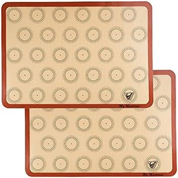 Silicone Macaron Baking Mat - Set of 2 Half Sheet (Thick & Large 11 5/8