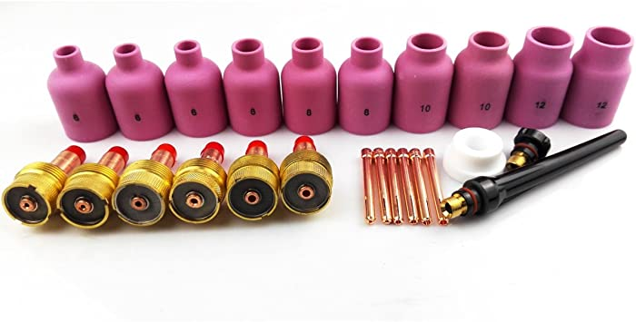 25pcs TIG Accessories Kit Large Alumina Nozzles 54N63 Gas Lens Gasket Back Cup Caps For Welding Torch WP17//18//26 PTA DB SR Series