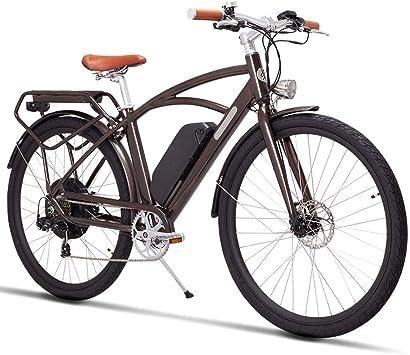 Qnlly Bicicleta eléctrica 48V 500W Motor de Alta Velocidad Bicicleta eléctrica de Carretera Retro Ebike Marco liviano, aleación de Aluminio Suspensión Tenedor Freno Tektro Doble Freno de Disco: Amazon.es: Deportes y aire