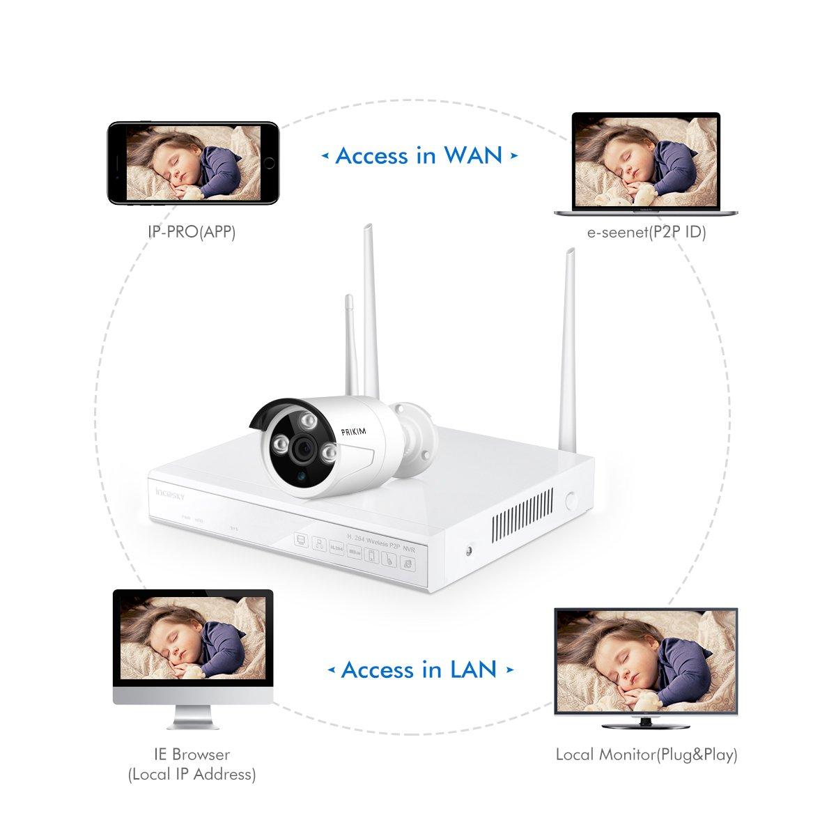PRIKIM W1 Sistema de la cámara de la seguridad sin hilos, WiFi DVR/NVR 960P 4CH HD visión nocturna, alarmas del movimiento, IP66 impermeable para la oficina ...