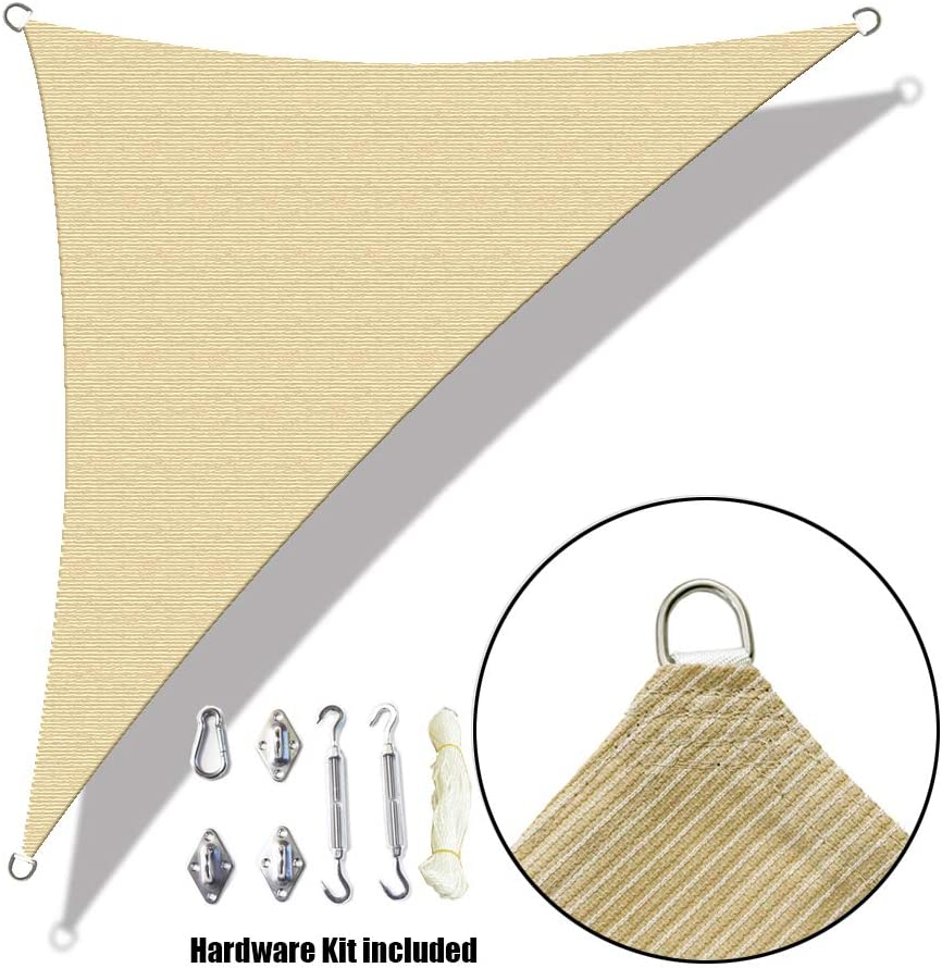 ALION HOME Custom Right Triangle HDPE UV Block Sun Shade Sail Permeable Canopy with Stainless Hardware Kit 7 x 7 x 10 , Beige