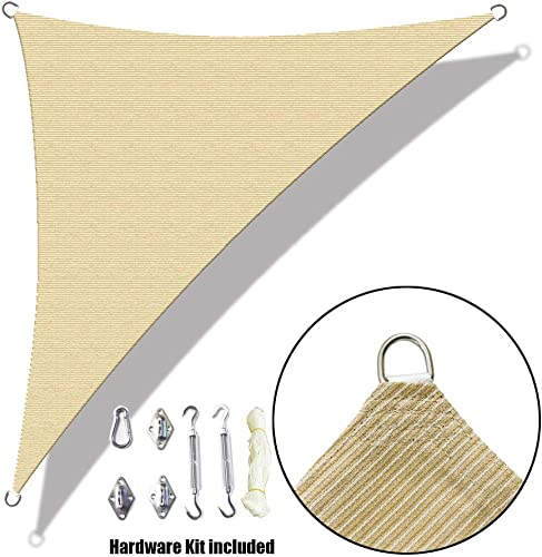 Alion Home Custom Right Triangle HDPE UV Block Sun Shade Sail Permeable Canopy with Stainless Hardware Kit 16 x 16 x 23 , Beige