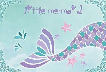 Leyiyi 7x5ft Kids Happy Birthday Backdrop Cartoon Mermaid Party Magic Tale Fish Scale Starfish Watercolor Banner Water Drop Photo Background 1st B Day Baby Shower Portrait Shoot Vinyl Studio Prop