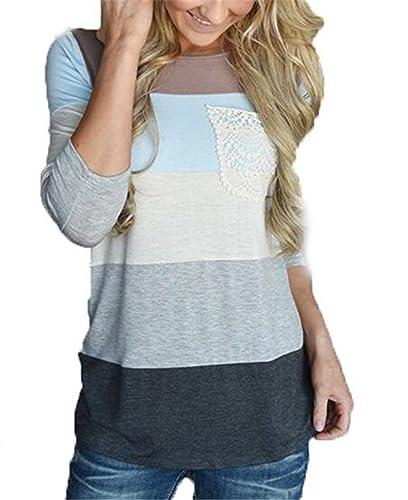 Kerlana Camiseta Mujer Blusa Mangas Largas Casual Elegante A Rayas Blouses Bolsillo T Shirt Hipster