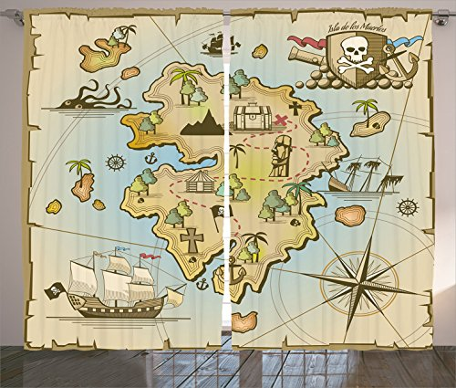 Pirates Chest Collection - Ambesonne Island Map Decor Collection, Cartoon Treasure Island with Pirate Ship Chest Kraken Octopus Nautical Kids Playroom Decor, Living Room Bedroom Curtain 2 Panels Set, 108 X 84 Inches, Multi