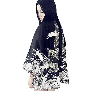 6f65b6020bc ZooBoo Women Japanese Kimono Cardigan - Autumn Harajuku Ancient Style  Bathrobe Cardigan Sunscreen Clothes Pajamas Jacket Feather Knitting Coat -  ...