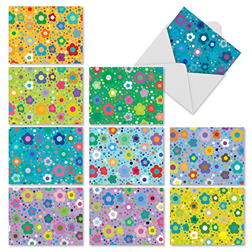 M2357OCB Flower Power: 10 Assorted Blank All-Occasion Note Cards Featuring Sweet and Simple Flower Designs in Bright and Vibrant Colors, w/White Envelopes.