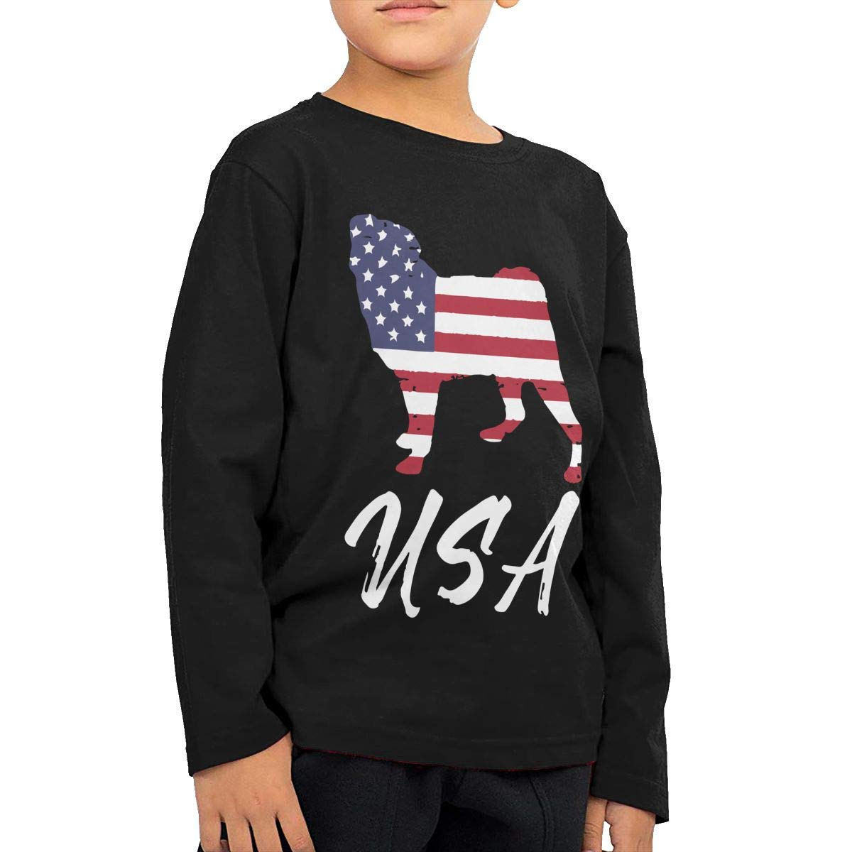 American Pug USA Flag Infant Kids Crewneck Long Sleeve Shirt Tee for Toddlers