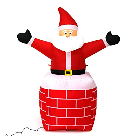 5 foot christmas inflatable airblown santa claus in chimney xmas blow ups for home outdoor lawn - Christmas Blow Ups