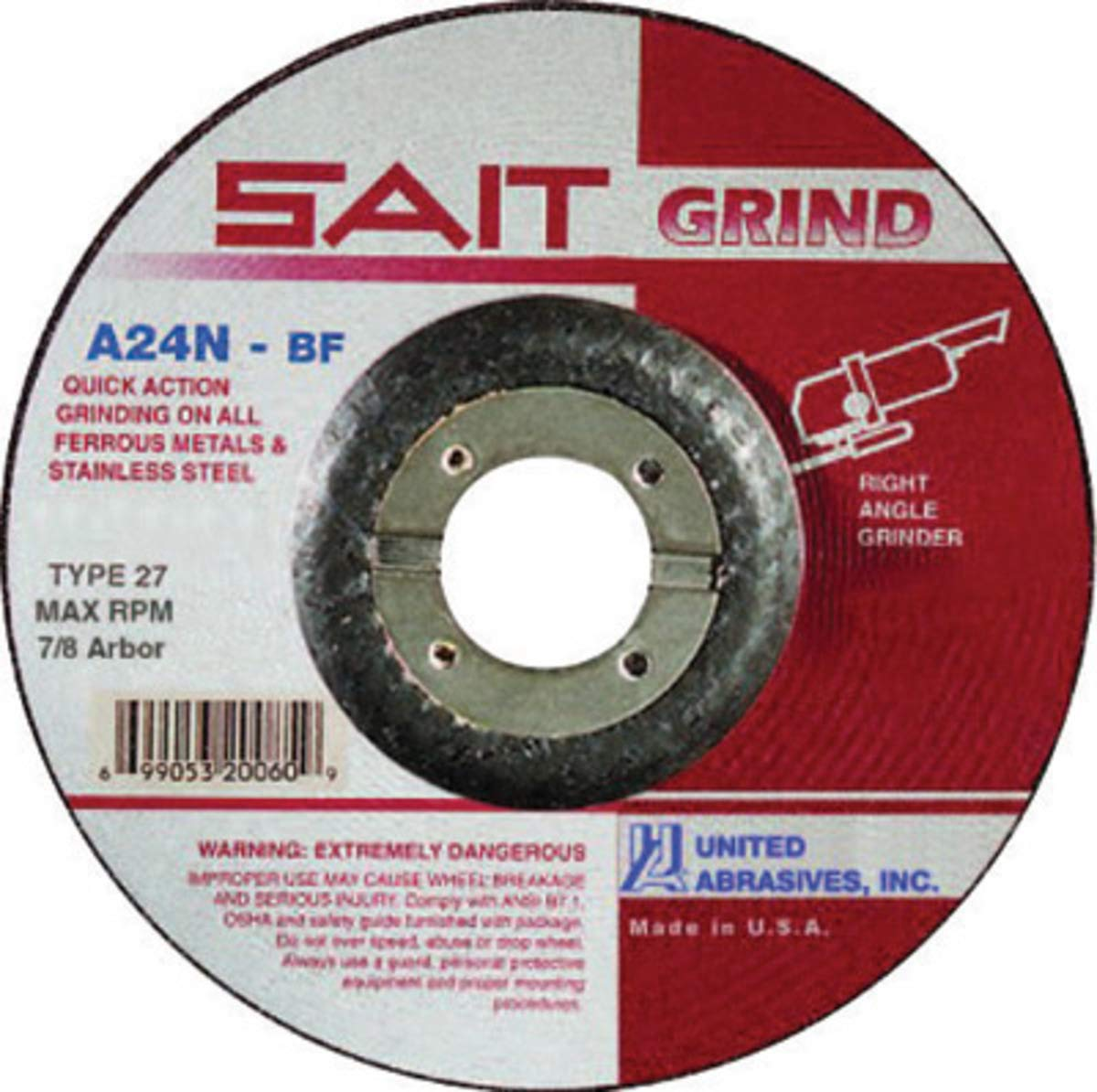 United Abrasives 3'' X 1/4'' X 3/8'' A24N 24 Grit Aluminum Oxide Type 27 Grinding Wheel-25 Each