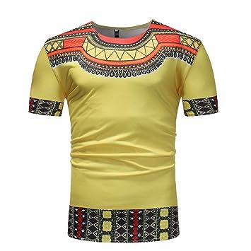 Hombre camiseta manga corta moda streetwear,Sonnena ❤ Tops casuales para hombres Impresión africana